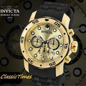 **NEW** Invicta Pro Diver Chronograph Gold Dial Bl